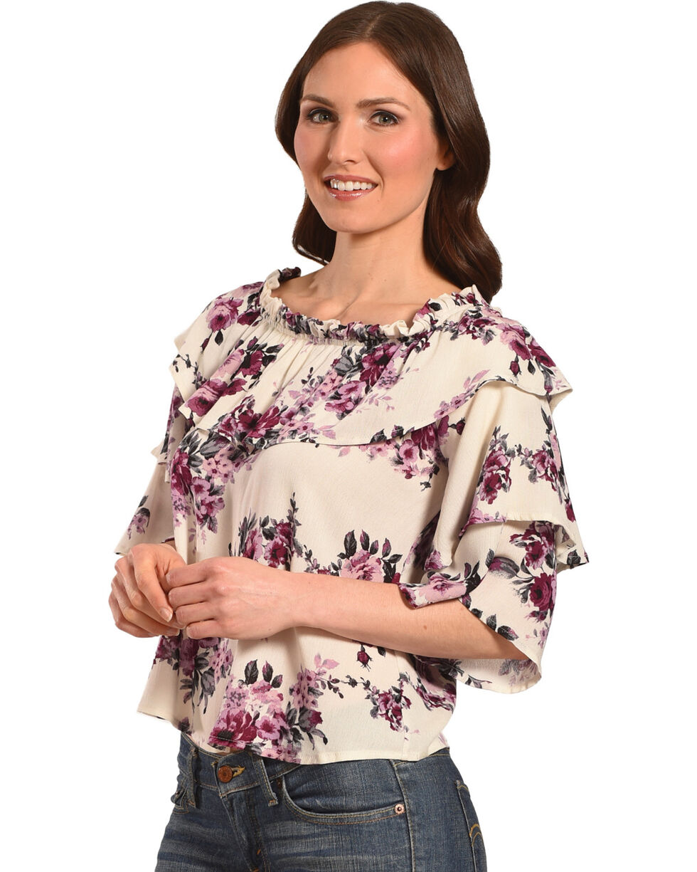 Ivory Love Women's Floral Tiered Sleeve Off-The-Shoulder Top, Ivory, hi-res