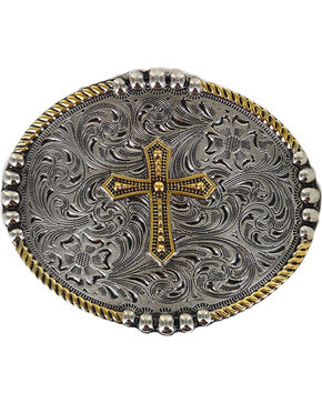 Cody James® Men's Filigree Cross Belt Buckle, Silver, hi-res