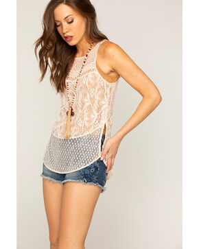 Shyanne Women's Overall Lace Tank, Ivory, hi-res
