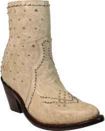 Corral Women's White Crystals and Studs Ankle Boots - Round Toe, White, hi-res