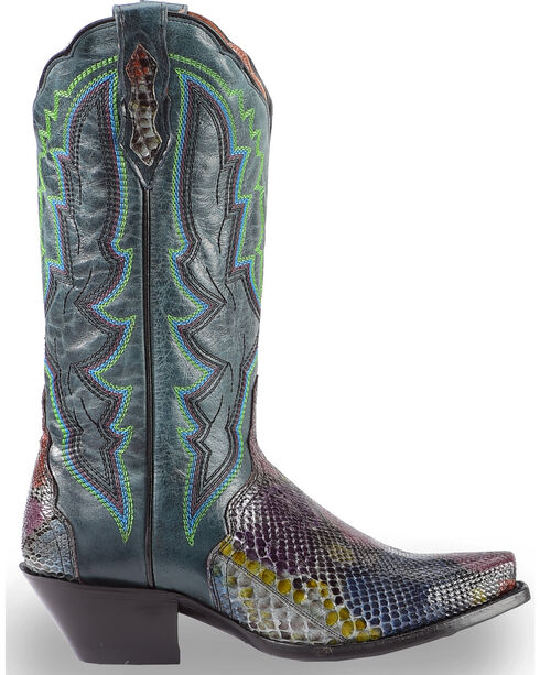 Dan Post Women's Painted Belly Python Triad Cowgirl Boots - Snip Toe, Multi, hi-res