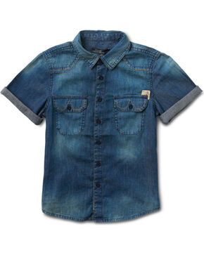 Silver Boys' Indigo Short Sleeve Denim Shirt , Indigo, hi-res
