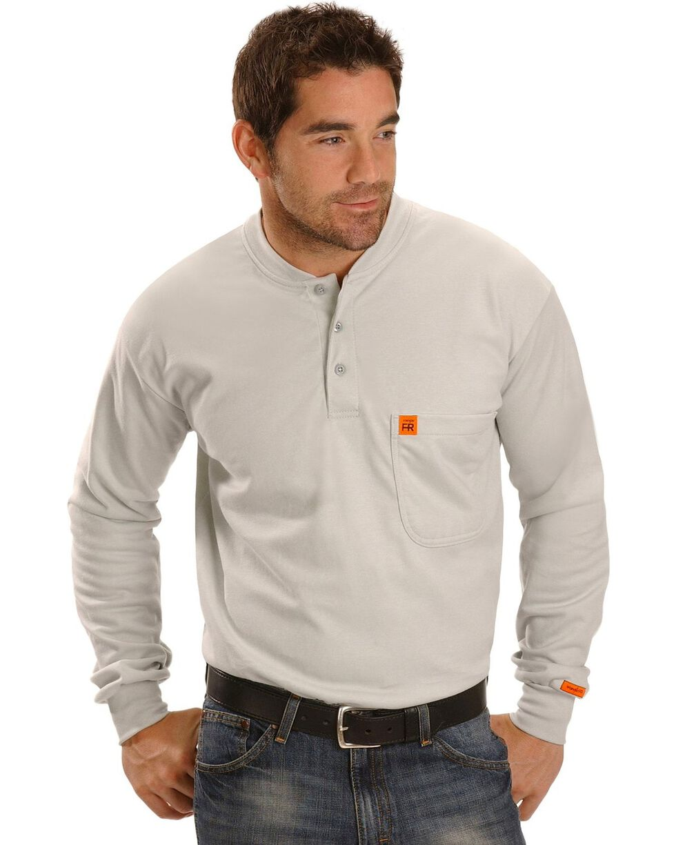 Wrangler Men's Flame Resistant Long Sleeve Henley, Grey, hi-res