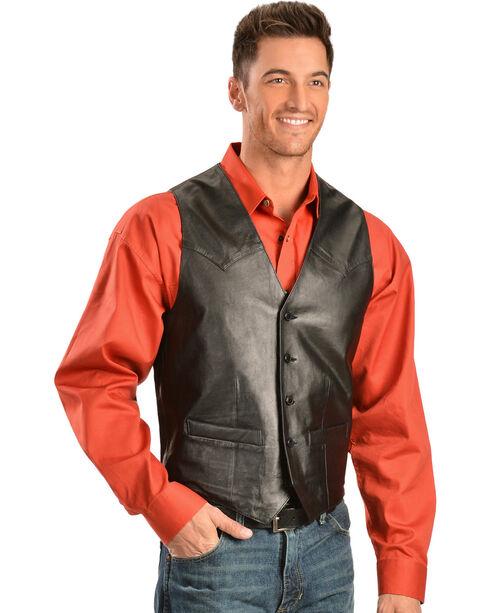 Scully Men's Basic Lambskin Vest, Black, hi-res