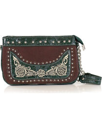 Savana Women's Embroidered Green Trim Wristlet, , hi-res