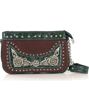 Savana Women's Embroidered Green Trim Wristlet, Green/brown, hi-res