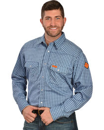 Wrangler Western FR Blue Plaid Work Shirt, , hi-res