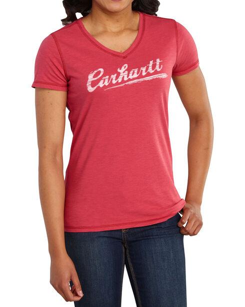 Carhartt Women's Script Logo Tee, Red, hi-res