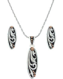 Montana Silversmiths Women's Rose Gold Trailing Vines Jewelry Set , , hi-res