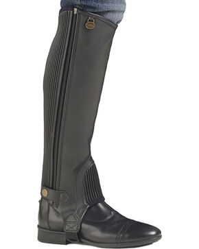 Ovation Kids' EquiStretch II Half Chaps, Black, hi-res