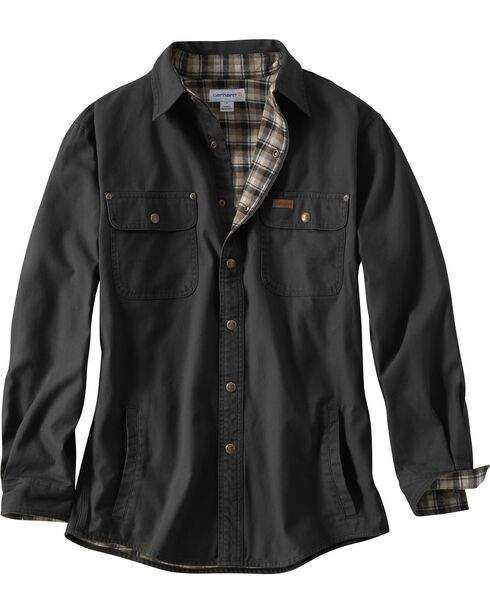 Carhartt Weathered Canvas Shirt Jacket, Black, hi-res