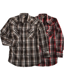 Ely Cattleman Men's Burgundy Assorted Textured Plaid Long Sleeve Western Snap Shirt, , hi-res