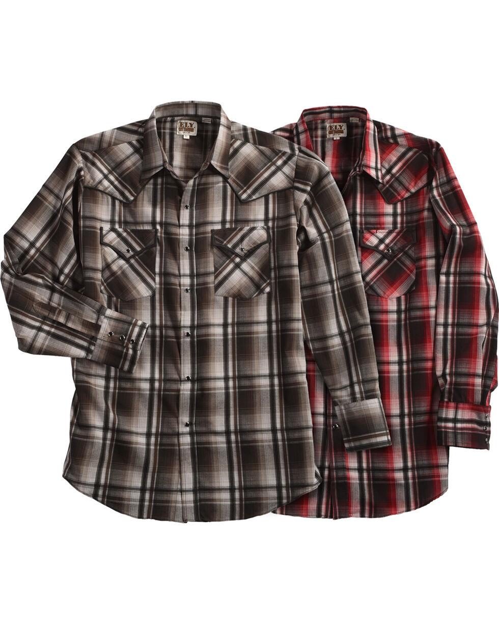Ely Cattleman Men's Burgundy Assorted Textured Plaid Long Sleeve Western Snap Shirt, Multi, hi-res