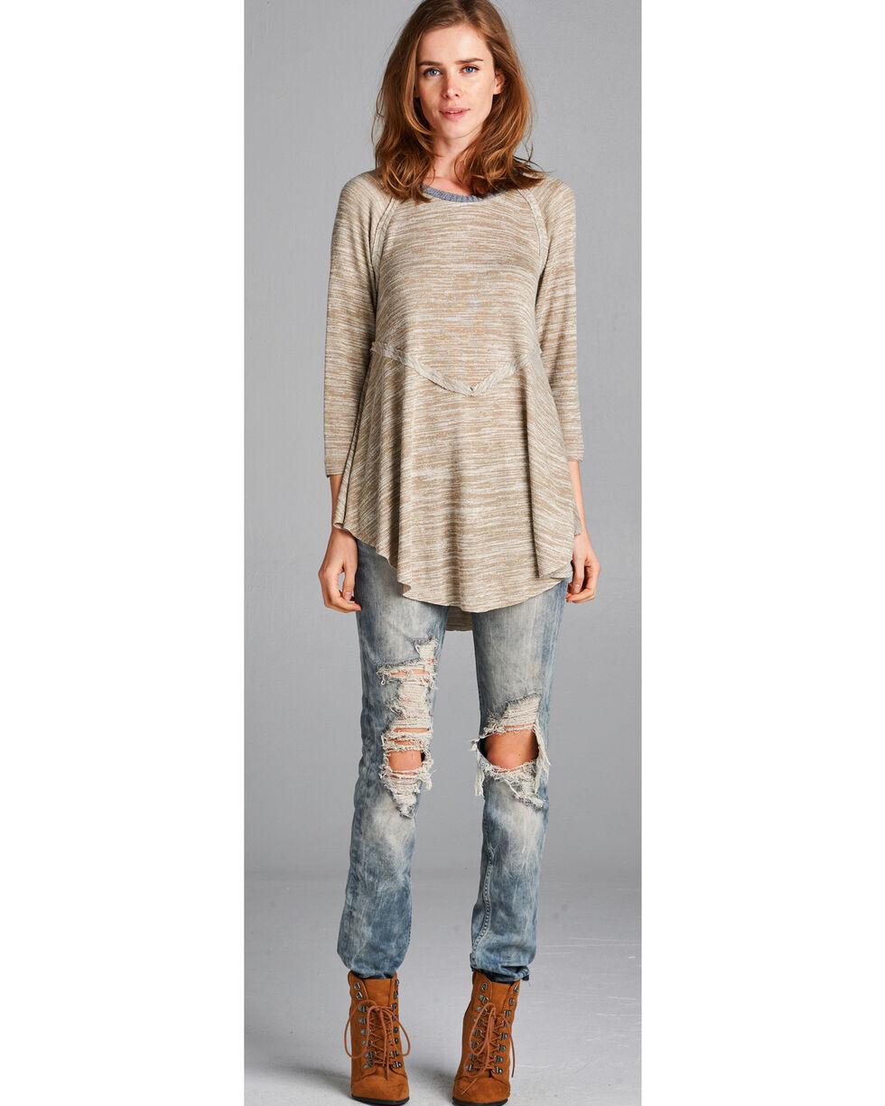 Hyku Women's Sand Peplum Sweater Knit Top , Sand, hi-res