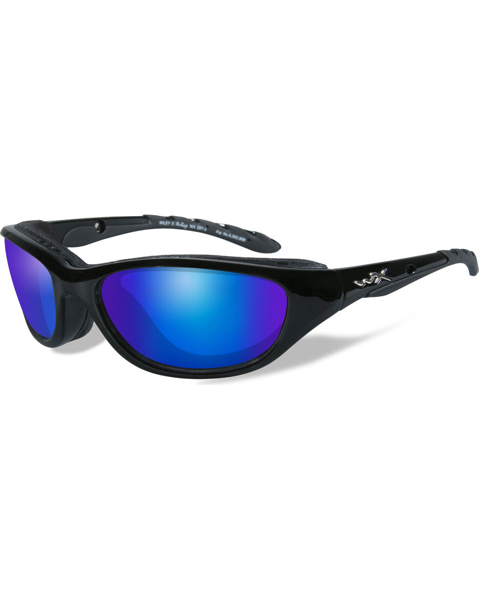 Wiley X Air Rage Polarized Blue Mirror Gloss Black Sunglasses , Black, hi-res