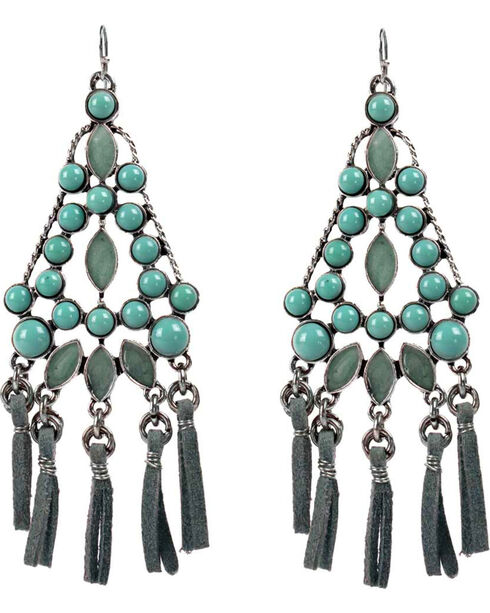 Treska Women's Cowtown Fringe Cord Chandelier Earrings  , Turquoise, hi-res