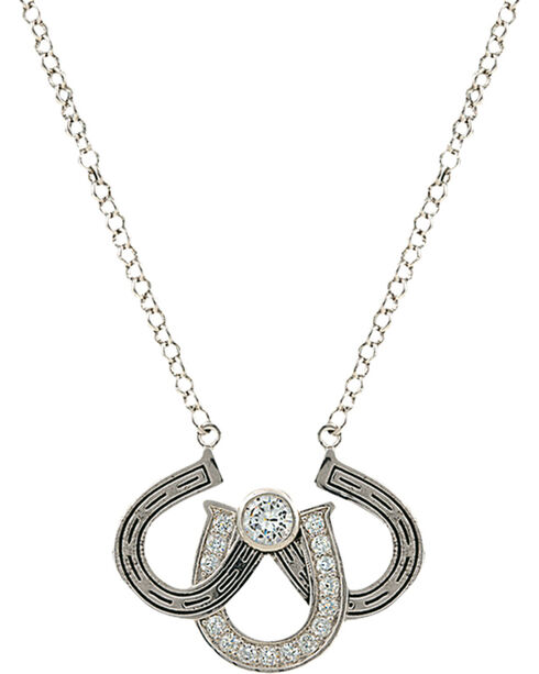 Montana Silversmiths Women's Triple the Luck Necklace, Silver, hi-res