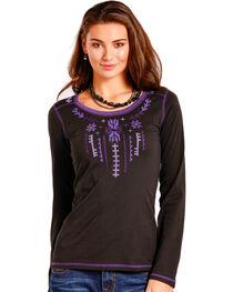Panhandle Women's Black Aztec Embroidered Top , , hi-res
