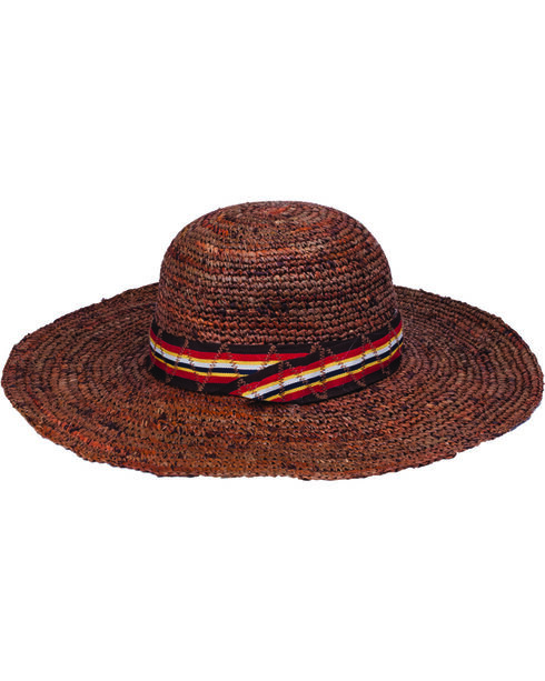 "Peter Grimm Marcella 4 1/2"" Striped Band Dark Brown Raffia Straw Sun Hat, Dark Brown, hi-res"