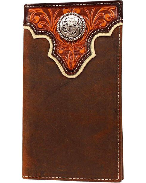 Ariat Men's Concho Distressed Leather Rodeo Checkbook Wallet, Tan, hi-res