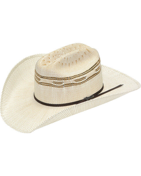 Twister Bangora Straw Two Cord Cowboy Hat, Tan, hi-res