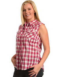 Henna Women's Ombre Plaid Sleeveless Western Shirt, , hi-res
