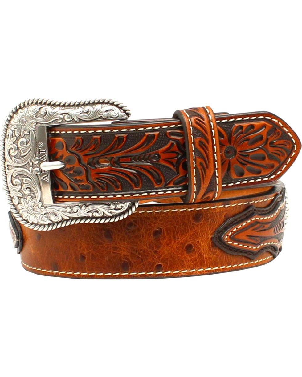 Ariat Men's Ostrich Concho Leather Belt, Brown, hi-res
