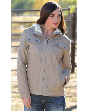 Cinch Women's Beige Sherpa Lined Canvas Jacket , Beige/khaki, hi-res