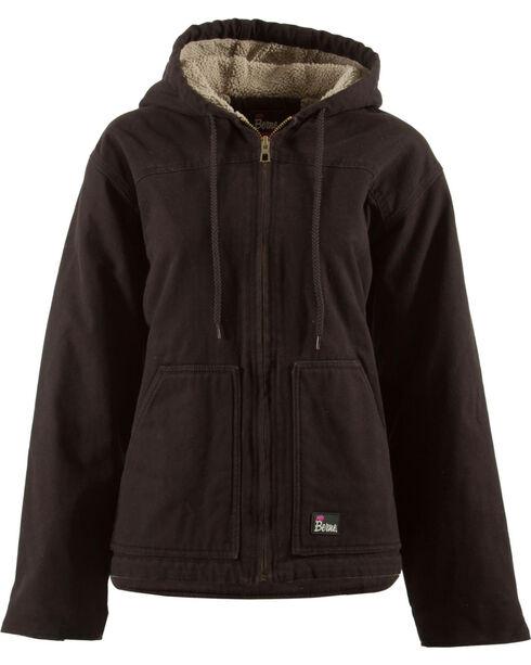 Berne Women's Washed Sherpa-Lined Hooded Coat, Dark Brown, hi-res
