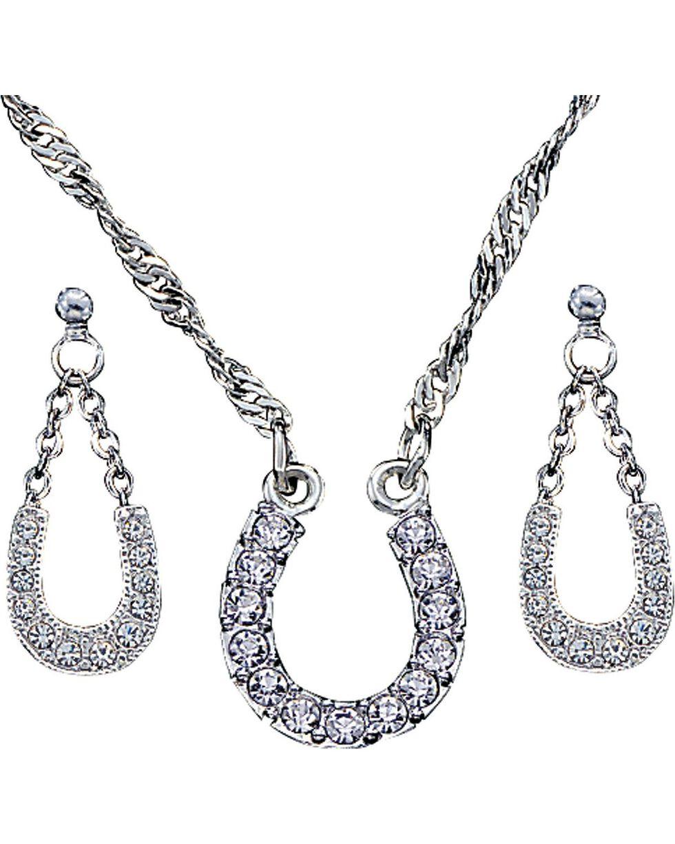 Montana Silversmiths Women's Horseshoe Jewelry Set, Silver, hi-res