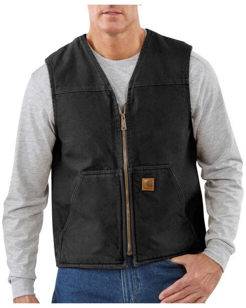 Carhartt Men's Sandstone Rugged Sherpa Lined Vest, Black, hi-res