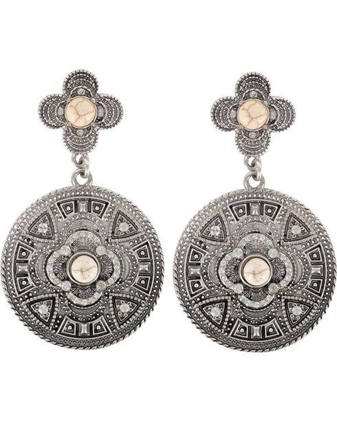 Shyanne® Women's Vintage Medallion Earrings, Cream, hi-res