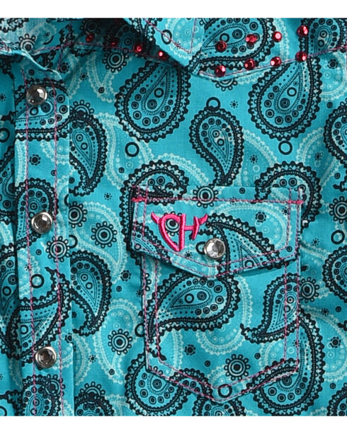 Cowgirl Hardware Toddler Girls' Paisley Embellished Long Sleeve Shirt, Turquoise, hi-res