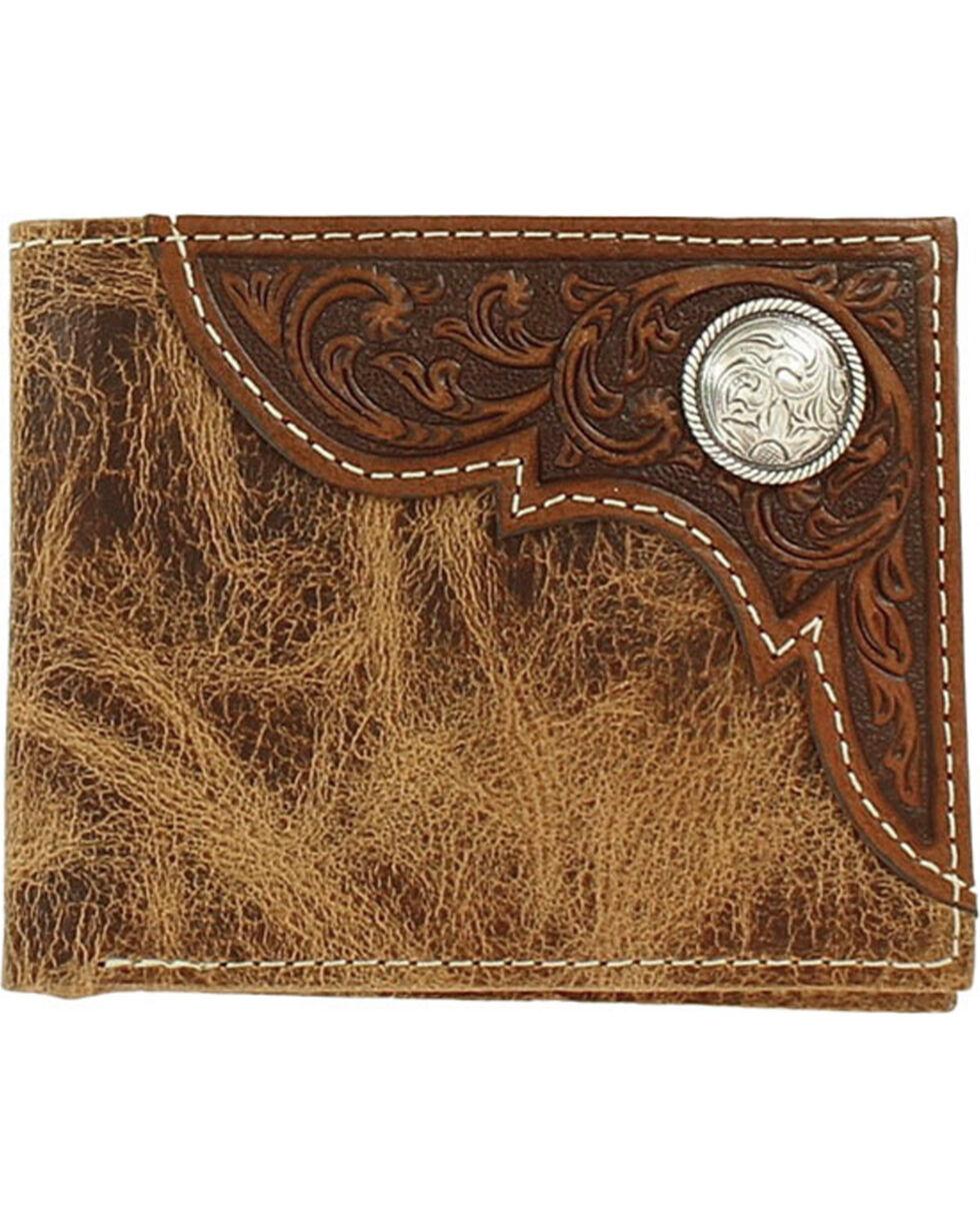 Ariat Men's Bi-Fold Embossed Overlay Wallet, Tan, hi-res