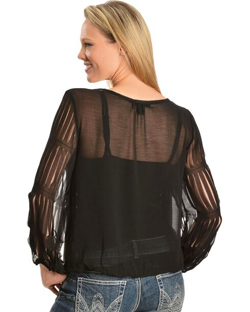 Panhandle Slim Georgette with Slits Long Sleeve Top, Black, hi-res