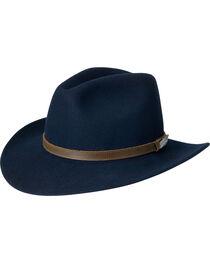 Black Creek Men's Crushable Wool Navy Hat, , hi-res