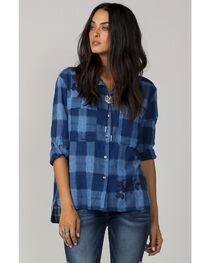 MM Vintage Women's Blue One Love Button-Up Plaid Shirt, , hi-res