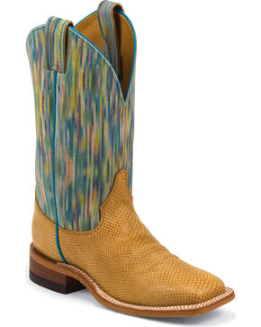 Justin Women's Patterned Bent Rail Western Boots, Tan, hi-res