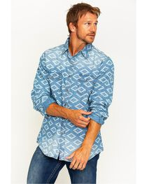 Ryan Michael Men's Aztec Diamond Indigo Western Shirt , , hi-res