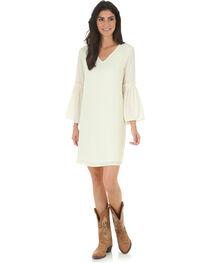 Wrangler Women's Cream V Neck Dress with Flutter Sleeves, , hi-res