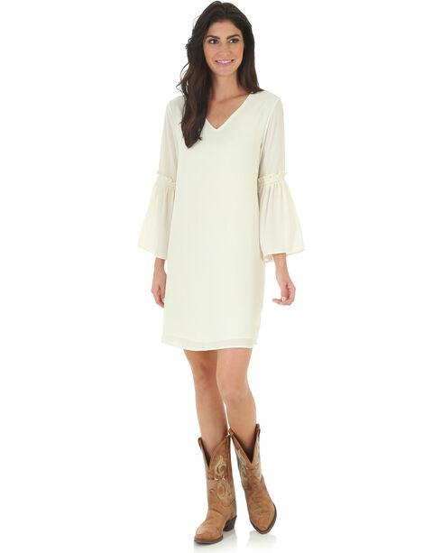 Wrangler Women's Cream V Neck Dress with Flutter Sleeves, Cream, hi-res