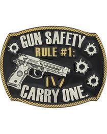 Montana Silversmiths Men's Silver Gun Safety Belt Buckle , , hi-res