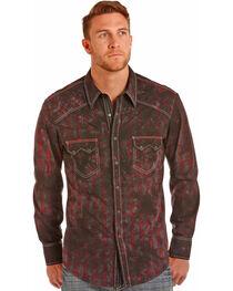 Rock & Roll Cowboy Men's Red Spray Wash Shirt , , hi-res