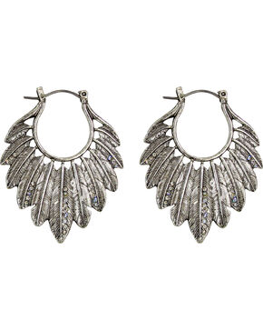 Silver Jeans Women's Silver Crystal Frontal Feather Hoop Earrings, Silver, hi-res