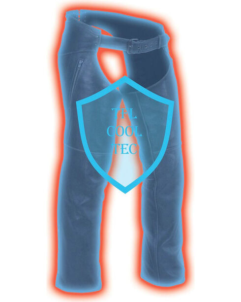Milwaukee Leather Men's Cool Tec Leather Chaps , Black, hi-res