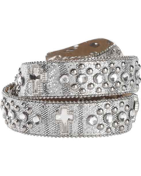Shyanne Girls' Silver Glitter Cross Belt, Silver, hi-res
