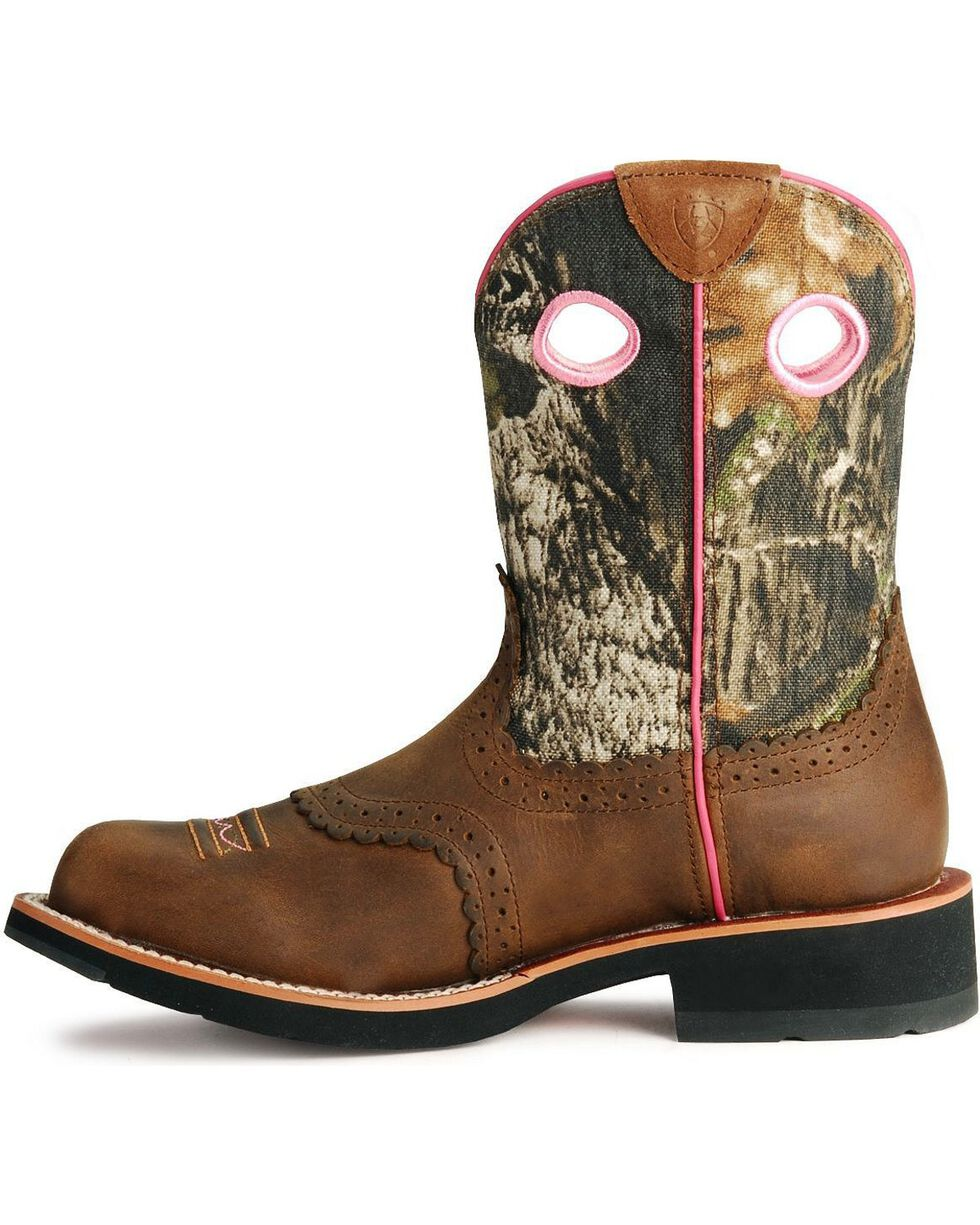 Ariat Women's Fatbaby Camo Western Boots, Distressed, hi-res