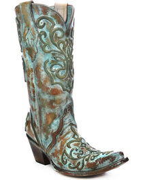 Corral Women's Whip Stitch X Toe Western Boots, , hi-res