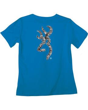 Browning Women's Classic Fit Zebra Blue T-Shirt, Blue, hi-res