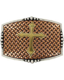 Nocona Men's Copper Basketweave With Cross Belt Buckle , , hi-res